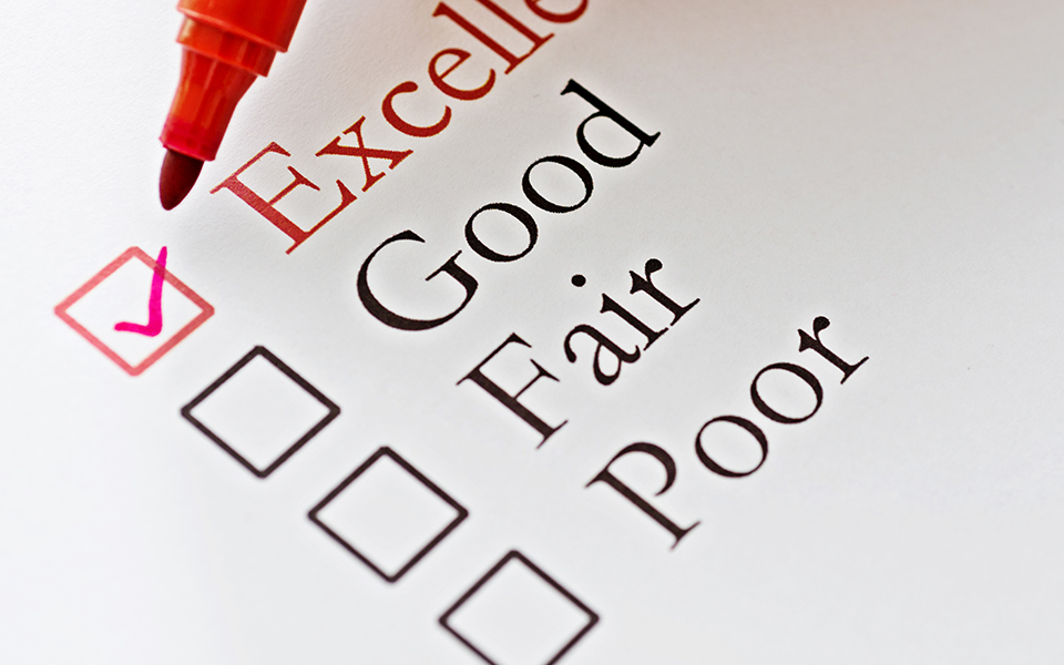 Checklist: Excellent, Good, Fair, Poor