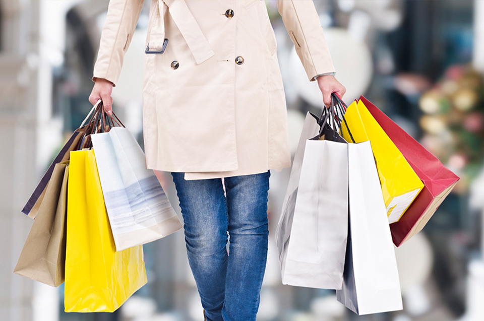 Woman with several shopping bags