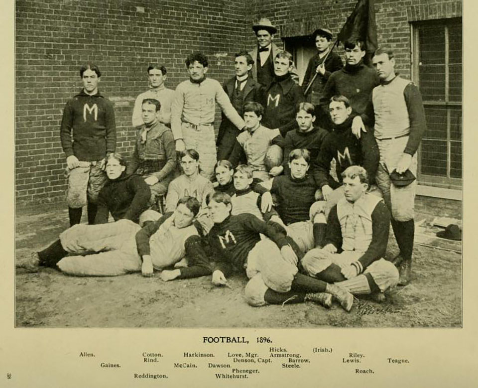 1896 Football Team from the Bones, Molars, and Briefs yearbook