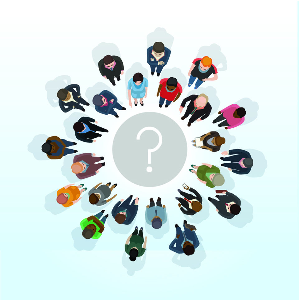 People sitting around a question mark