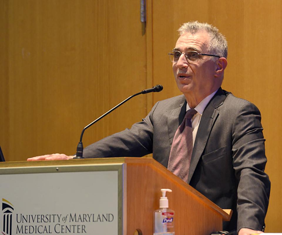 Dr. Thomas Scalea delivering his presentation