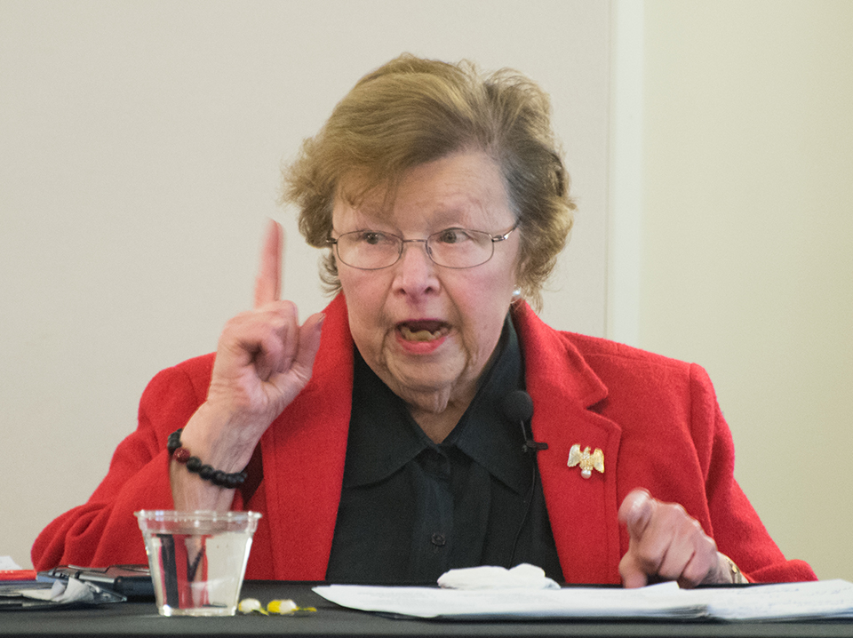 Barbara Mikulski speaks to the UMB audience